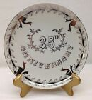 Lefton 25th Anniversary Plate Silver Rim Bells Fine China Wedding Dish Vintage