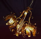 Vintage Hollywood Regency Art Gilt tole Italy LILY Tulip chandelier fixture