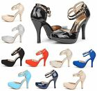 DREAM PAIRS OFFICE 02 Womens Double Ankle Strap Almond Toe High Heel Pumps New