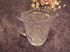 Vintage FTD 1985 Crystal Diamond Pattern Ribbed Top Edge Notched Handle Pitcher