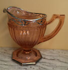 Pink Depression Glass Creamer Ribbed & dotted Silver trim octagon base