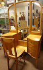 Birdseye Maple Vanity with Detachable Tri-Fold Mirror and Cane Bottom Chair