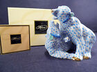 HEREND TWO BEARS BLUE FISHNET FIGURINES,4,25 INCHES TALL,BRAND NEW