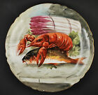 LIMOGES Antique porcelain Lobster, Fish plate -  Artist Signed - 29cm / 11,5″