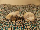 Majolica Ceramic Antique Pair of Dappled Ducklings Made In France VGUC