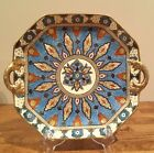 VTG NORITAKE M HAND PAINTED DOUBLE HANDLED CAKE PLATE BLUES, RED, AND GOLD