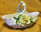 Vtg R G V GERMANY Ceramic Porcelain Basket Bowl Dish: Applied Yellow Rose Flower