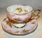 Vintage JAPAN Iridescent Footed Pedestal Cup & Saucer Lt Pnk with Gold Flowers
