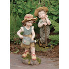 Set of 2: Farmer Children Childhood Planting Girl and Boy Garden Yard Statues