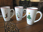 Fitz and Floyd Gourmet HAPPY HOLIDAYS Set of 3 Latte Mugs 18 ounce Christmas mug