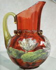 moser harrach cranberry pitcher Coraline Coralene Water Lilly pond marked