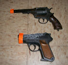 Lot of 2 Vintage Toy Cap Guns Made Italy Edison Giocattoli Colt and 9mm