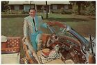 Vintage OVERSIZED Fan Photo Card: WEBB PIERCE & His Silver Dollar Car