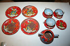 Lot of 12 vintage tin dollhouse size plates cups teapot