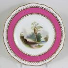 ANTIQUE COPELAND ENGLAND CHINA D6719 CABINET PLATE COUNTRY LANDSCAPE GILT PINK