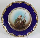 ANTIQUE ROSENTHAL BAVARIA CHINA PORTRAIT CABINET PLATE COBALT BLUE GOLD EMBOSSED