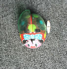 Vintage Metal Wind Up Mechanical Lady Bug With Moving Wings