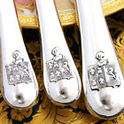 RARE Antique French Sterling Silver 54pc Table Knife Set, Armorial Heraldry