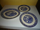 BLUE WILLOW Platter and 2 Dinner Plates Great Vintage Lot 3 in all