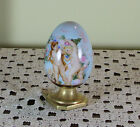 Collectors Charming Large Easter Egg with Putti's Painting on Pale Blue Fond
