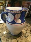 Solimene Vietri Made In Italy Large Ceramic Pitcher With Fish Design-8-1/2