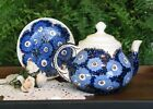 Vintage German DECO ges.gesch Blue Floral Pottery 6 Cup Teapot As IS Replace Lid