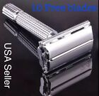 Traditional Men Double Edge Chrome Safety Razor Classic Shave With 10 Blades New