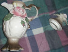 Vintage large CAPODIMONTE porcelain PITCHER /URN w/LID Italy decorative rose2 PC