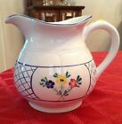 Herend Village Pottery Hungary Large Pitcher 48 oz  Flowers Hand Painted