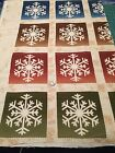 Fabric Snowflakes Winter Squares 4 Color Panel Flannel 30x42 *9*