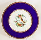 LOVELY ANTIQUE MINTON CHINA DINNER PLATE COBALT BLUE RAISED GOLD ENCRUSTED BIRD
