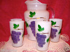 Vtg Frosted Pitcher With Tumblers Set Bartlett Collins Gay Fad Glass Grapes