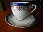 ROYAL GRAFTON TEA CUP AND SAUCER ETCHED COBALT BLUE WITH GOLD GILT PATTERN