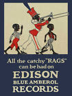 18 X 24 Reproduced Edison Blue Amberol Phonograph Records Canvas Banner