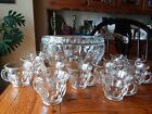Vintage Colony Crystal Heavy CLASSIQUE GLASS PUNCH BOWL 12 CUPS