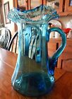 Victorian Blue Ruffled Rim Pitcher Applied Handle 10