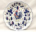 Vtg Hand Painted Italian Wall Serving Bowl Plate Rooster Deruta Italy Pottery