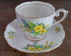 Vintage Fine Bone China England Bell Cup Saucer Yellow Blue Flowers Gold Trim