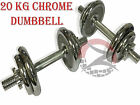 CHROME FINISH HOME GYM BODYBUILDING FITNESS STRENGTH FREE WEIGHTS DUMBBELL 20KG