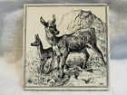 Antique Minton Hollins Black/cream tile ANIMALS: TWO FAWNS  signed WP Simpson