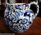 1905 Larkin Buffalo Pottery Cobalt Blue Geranium Flow Blue Chintz Pitcher Jug