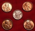 High End 4 Coin Lot of Red Lincoln Wheat Cent Pennies Silver 1941 Mercury Dime