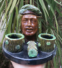 Majolica Antique Middle Eastern man head Humidor Tobacco Jar tray holder RARE