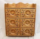 Vtg Wood Spice Rack Cabinet Shelf 6 Drawers Wall Table Hand Painted Wooden