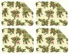 April Cornell Christmas Quilted 4 Table Placemats Set Holly Cream Rectangle New