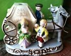Vintage Coachman Carriage Ceramic Figurine, 2 Horses, Courting Couple