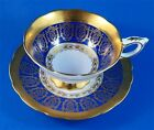 Rich Raised Gold Edge with Garland on Cobalt Blue Royal Stafford Cup