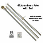 6 Ft Silver Aluminum FLAG POLE w Gold Ball Top Wall Mount Bracket