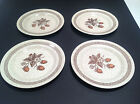 Vtg Set 4 Homer Laughlin Brown Wild Strawberry Dinner Plates Stoneware Speckle