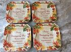 222 Fifth Square Salad Plates. Autumn Celebration. Red. Beautiful. Set Of 4. New